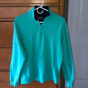 Vineyard Vines men's zipper pullover, green size s